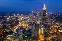 Horizonte de Atlanta céntrica, Georgia Imágenes de archivo libres de regalías