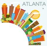 Horizonte de Atlanta con los edificios del color, el cielo azul y el espacio de la copia ilustración del vector