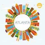 Horizonte de Atlanta con los edificios del color, el cielo azul y el espacio de la copia stock de ilustración