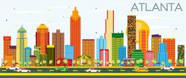 Horizonte de Atlanta con los edificios del color y el cielo azul stock de ilustración