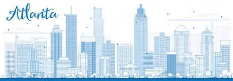 Horizonte de Atlanta del esquema con los edificios azules stock de ilustración