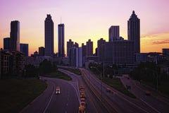 Horizonte de Atlanta en la puesta del sol Fotografía de archivo libre de regalías