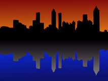 Horizonte de Atlanta en la puesta del sol ilustración del vector