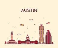 Horizonte de Austin, Tejas, los E.E.U.U. Estilo linear del vector stock de ilustración