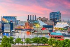 Horizonte de Baltimore, Maryland, los E.E.U.U. fotografía de archivo
