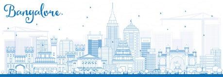 Horizonte de Bangalore del esquema con los edificios azules ilustración del vector