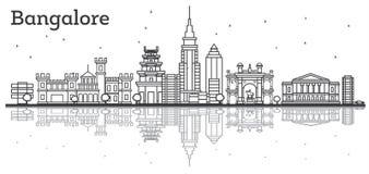 Horizonte de Bangalore del esquema con los edificios históricos y la reflexión