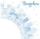 Horizonte de Bangalore del esquema con los edificios y el espacio azules de la copia ilustración del vector