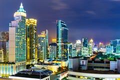 Horizonte de Bangkok en la noche Foto de archivo