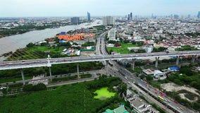 Horizonte de Bangkok por la tarde almacen de metraje de vídeo