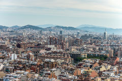 Horizonte de Barcelona - perspectiva inusual Foto de archivo libre de regalías