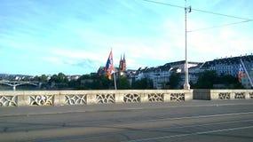 Horizonte de Basilea, Suiza con el Munster Foto de archivo