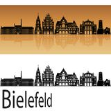 Horizonte de Bielefeld en fondo anaranjado Fotos de archivo libres de regalías