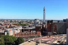 Horizonte de Birmingham y torre West Midlands de BT Foto de archivo libre de regalías