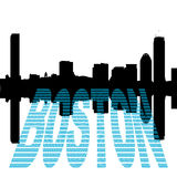 Horizonte de Boston con el texto del dólar Imagenes de archivo