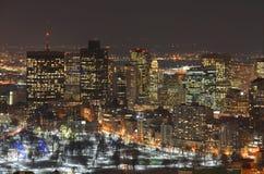 Horizonte de Boston en la noche, Massachusetts, los E.E.U.U. Fotos de archivo libres de regalías