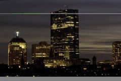 Horizonte de Boston en la oscuridad Fotografía de archivo