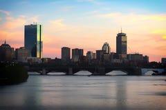 Horizonte de Boston en Sunsey imagen de archivo libre de regalías