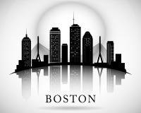 Horizonte de Boston Silueta de la ciudad Fotografía de archivo libre de regalías