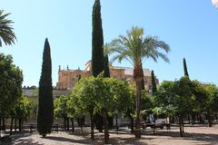 Horizonte de Córdoba, España El gran interior famoso de la mezquita o de Mezquita en Córdoba, España Fotografía de archivo libre de regalías
