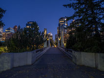 Horizonte de Calgary en la noche Foto de archivo
