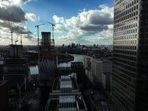 Horizonte de Canary Wharf, Londres foto de archivo