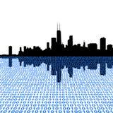 Horizonte de Chicago con el binario Fotografía de archivo libre de regalías
