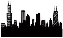 Horizonte de Chicago de la historieta stock de ilustración