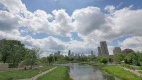 Horizonte de Chicago de Lincoln Park almacen de metraje de vídeo