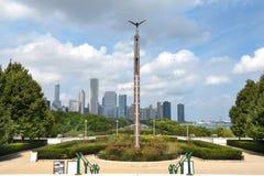 Horizonte de Chicago del museo del campo Imagen de archivo libre de regalías