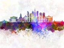 Horizonte de Chicago en fondo de la acuarela stock de ilustración