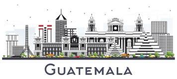 Horizonte de ciudad de Guatemala con Gray Buildings Isolated en blanco libre illustration