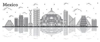 Horizonte de Ciudad de México del esquema con los edificios históricos y reflexiones aisladas en blanco libre illustration