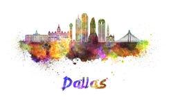 Horizonte de Dallas en acuarela stock de ilustración
