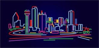 Horizonte de Dallas Tejas stock de ilustración