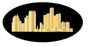 Horizonte de Detroit con el fondo negro stock de ilustración