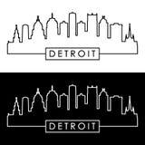 Horizonte de Detroit estilo linear stock de ilustración