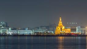 Horizonte de Doha con el timelapse de centro cultural islámico en Qatar, Oriente Medio almacen de video
