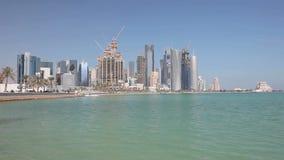 Horizonte de Doha, Qatar almacen de video