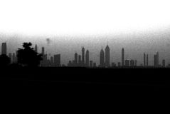 Horizonte de Dubai en B/W Imagen de archivo libre de regalías