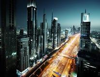 Horizonte de Dubai en el tiempo de la puesta del sol, UAE Fotografía de archivo libre de regalías