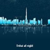Horizonte de Dubai en la noche ilustración del vector