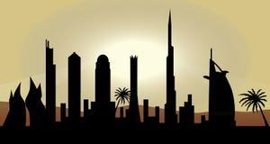 Horizonte de Dubai en la puesta del sol