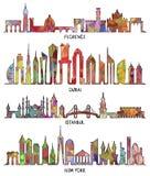Horizonte de Florencia, de Dubai, de Nueva York y de Estambul stock de ilustración