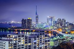 Horizonte de Fukuoka, Japón Imagen de archivo
