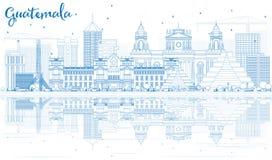 Horizonte de Guatemala del esquema con los edificios azules y las reflexiones libre illustration