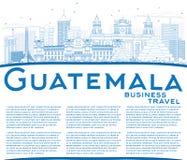 Horizonte de Guatemala del esquema con los edificios y el espacio azules de la copia ilustración del vector