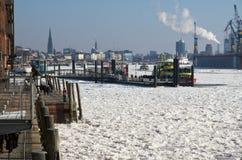 Horizonte de Hamburgo en el hielo Fotografía de archivo libre de regalías