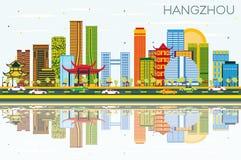 Horizonte de Hangzhou China con los edificios del color, el cielo azul y Reflec libre illustration