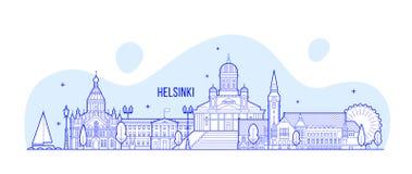Horizonte de Helsinki, vector de los edificios de la ciudad de Finlandia Fotos de archivo